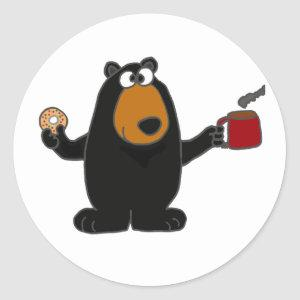 Funny Black Bear Eating Donut and Drinking Coffee Classic Round Sticker