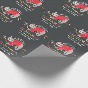 Funny bright sloth christmas wrapping paper