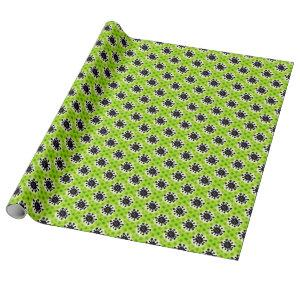 funny cartoon virus tiled pattern green wrapping paper