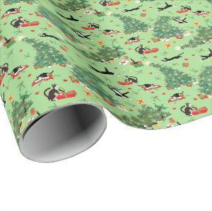 funny Cat and Christmas Tree Trouble green Wrapping Paper