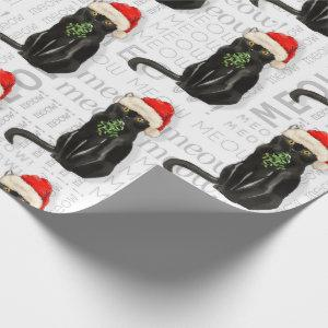 Funny Cat Lover Black Bombay Christmas Wrapping Paper