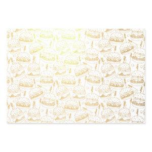 Funny Cheeseburger Food Pattern Foil Wrapping Paper Sheets