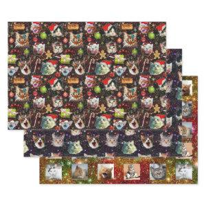 Funny Christmas Cats in Space | with Custom Photos Wrapping Paper Sheets