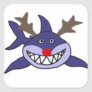 Funny Christmas Shark Reindeer Square Sticker