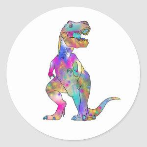 Funny Colourful T Rex Psychedelic Dinosaur Art Classic Round Sticker