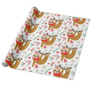 Funny Cute Christmas Sloth with Santa Hat Wrapping Paper