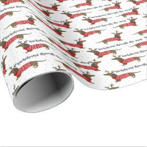 Funny Dachshund Through The Snow Christmas Wrapping Paper