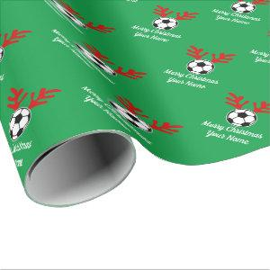 Funny deer antler soccer ball Christmas Holiday Wrapping Paper