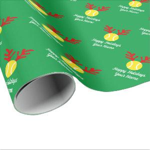 Funny deer antler tennis ball Christmas Holiday Wrapping Paper