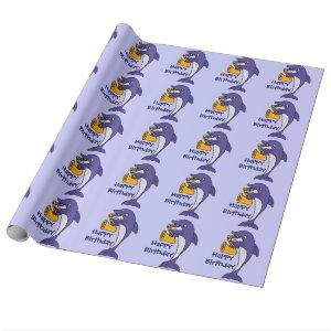 Funny Dolphin Playing Saxophone Birthday Giftwrap Wrapping Paper