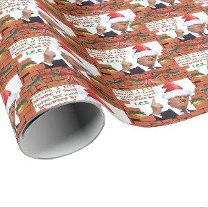 Funny Donald Trump Brick Wall Christmas Wrapping Paper