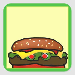 Funny Hamburger Picnic Name Tag Sticker