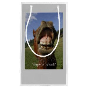 Funny Horse's Mouth Forget to Brush Small Gift Bag