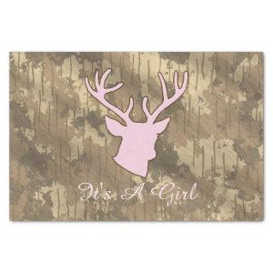 Funny Hunting Camo Brown Pink Girl Baby Shower Tissue Paper