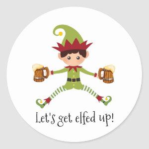 Funny Let's Get Elfed up Elf Christmas Classic Round Sticker