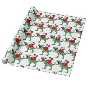 Funny Merry Christmas Dinosaur Santa Claus Wrapping Paper
