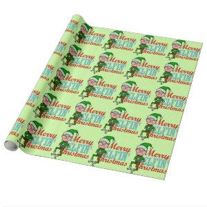 Funny Merry Elfin Christmas Bah Humbug Wrapping Paper