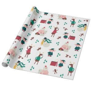Funny Naughty Holiday with Christmas Characters Wrapping Paper