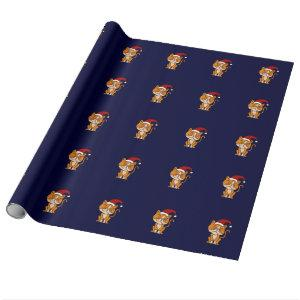 Funny Orange Cat Christmas Wrapping Paper