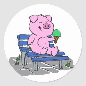 Funny pig eating ice cream | choose back color classic round sticker