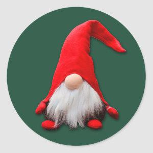 Funny Red Gnome Christmas Classic Round Sticker