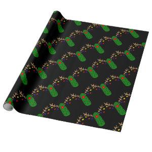 Funny Reindeer Pickle Christmas Cartoon Wrapping Paper