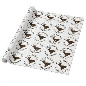 Funny Running Buck Hunting Eat More Fast Food Wrapping Paper