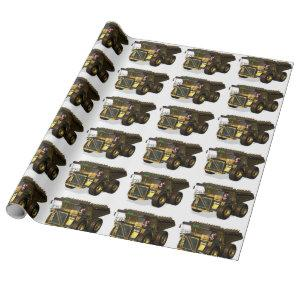 Funny Santa Claus Dump Truck Driver Wrapping Paper