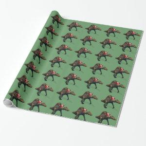 Funny Santa Claus Riding On Spinosaurus Wrapping Paper