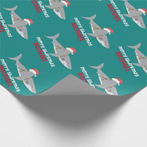 Funny Shark Christmas | Name Wrapping Paper