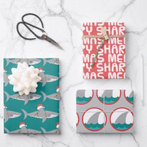 Funny Shark Christmas Wrapping Paper Sheet Set