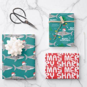 Funny Shark Christmas Wrapping Paper Sheets