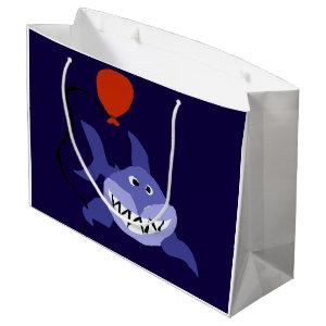 Funny Shark Holding Red Balloon Large Gift Bag