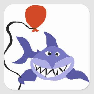 Funny Shark Holding Red Balloon Square Sticker