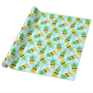 Funny Tropical Christmas Pineapples Wrapping Paper