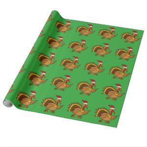 Funny Turkey Wearing Red Santa Hat Christmas Art Wrapping Paper