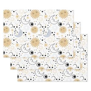 Galaxy Lover Starry Sky Sun Half Moon Sketch Style Wrapping Paper Sheets