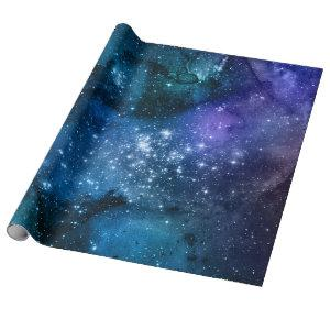 Galaxy Lovers Starry Space Blue Sky White Sparkles Wrapping Paper