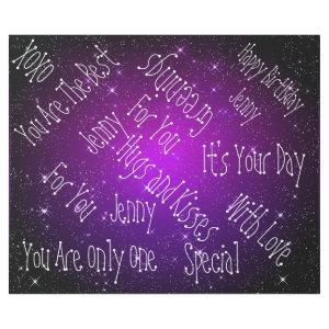 Galaxy Stars Personalized Birthday Purple Wrapping Paper