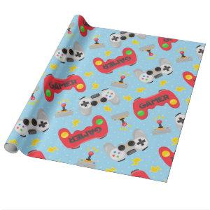 Game night party wrapping paper