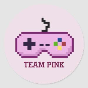 Gamer Gender Reveal Team Pink Stickers