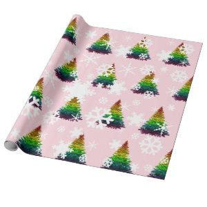 Gay Pride Flag Christmas Tree Pattern Wrapping Paper