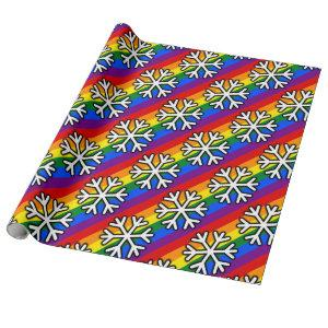 Gay Pride Snowflake Wrapping Paper