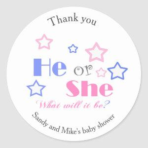Gender reveal baby shower he or she baby shower classic round sticker