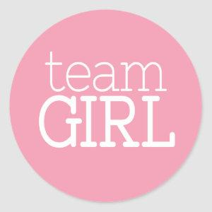 Gender Reveal Baby Shower - Team Pink Girl Classic Round Sticker