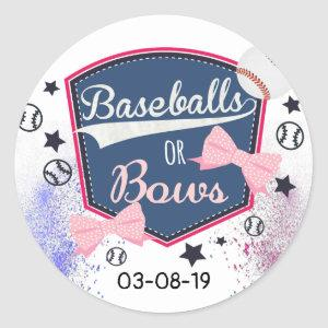 Gender Reveal baseball or bows Classic Round Sticker