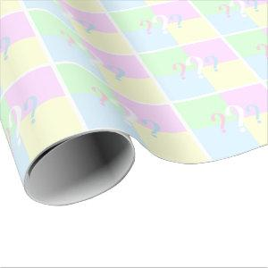 Gender reveal question mark wrapping paper