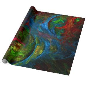 Genesis Blue Abstract Art Wrapping Paper