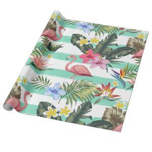 Gentle Pink Flamingo & Tropical Flowers Gift Wrapping Paper