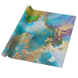 Geode faux gold blue purple agate peacock chic wrapping paper